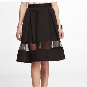 Express Holiday Party Midi Aline Black Skirt