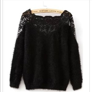 Lace and Mohair black sweater