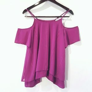 Tops - Cold Shoulder Bold Berry Blouse