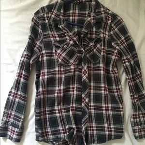Tops - Purple black white flannel