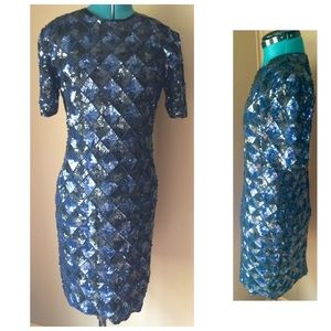 Vintage GLAM silk sequin shift dress