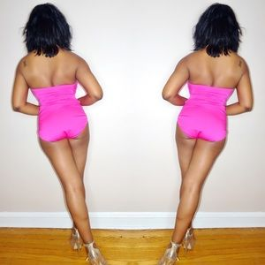 Swim - Hot Pink Strapless One Piece Bathing Suit