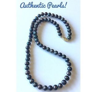 Jewelry - 14k Gold & Cultured Black Pearls Necklace 14k Gold