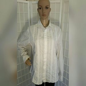 White Guess button down with thin silver lines