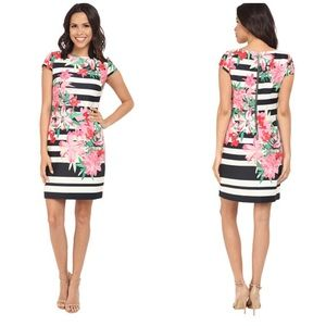 Vince Camuto Dresses & Skirts - Beautiful Vince Camuto Floral Striped Scuba Dress