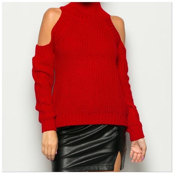 52% off The Denim Bar Sweaters - Red Cold Shoulder Mock Turtle ...