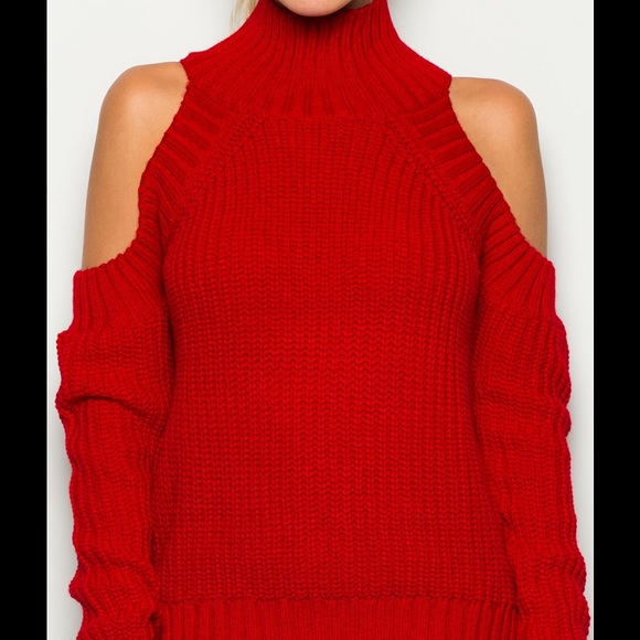 52% off The Denim Bar Sweaters - Red Cold Shoulder Mock Turtle ...