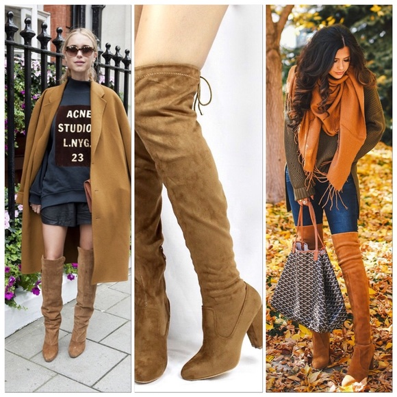 bf6a1bcf20fe Camel Suede Over The Knee Chunky Block Heel Boots