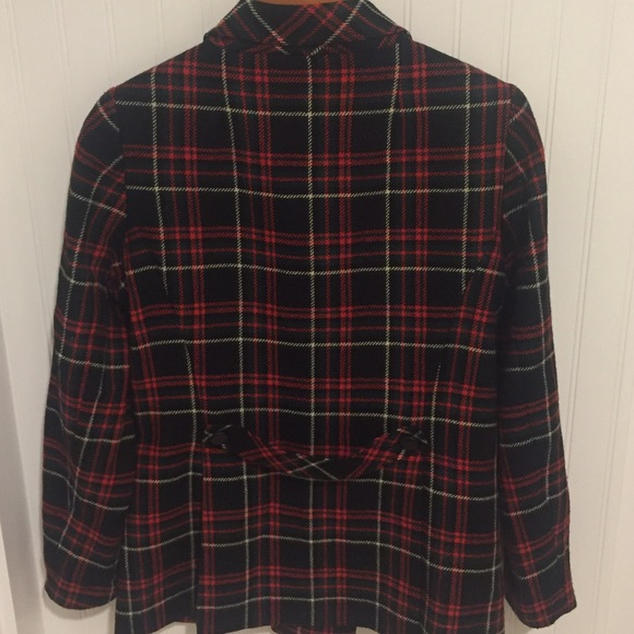12d70ffd4 Macy's CAbi red black plaid winter pea coat 8