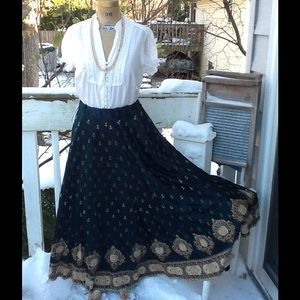 VTG Ethnic Satin Embroidered Full Maxi Skirt