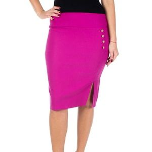 Forever Young  Dresses & Skirts - Pencil Skirt with Button & Slit, d4024, Fuchsia