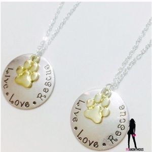 October Love Jewelry - Gold-Silver Plate Live Love Rescue Necklace