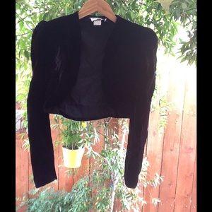 Crop Black Velvet Jacket Vintage 90's