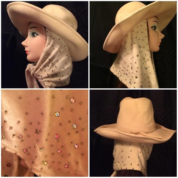Vintage attached scarf ear flap hat studs stones. M 583370a82fd0b75c6e0028cc 4f41a92d325
