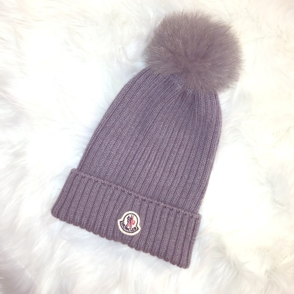 Authentic Moncler Wool Fox Fur Pom Pom Grey Hat. M 58337464b4188e0bd80003cc 30145feefb9