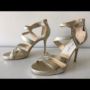 JIMMY CHOO TOMAR METALLIC GOLD LEATHER SANDALS