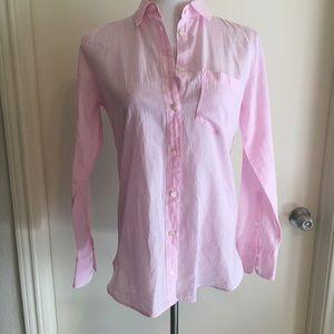 J. Crew Boy Fit Striped Shirt Pink Long Sleeve