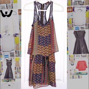 Sugarlips Multi-Colored Silk & Lace Halter Dress