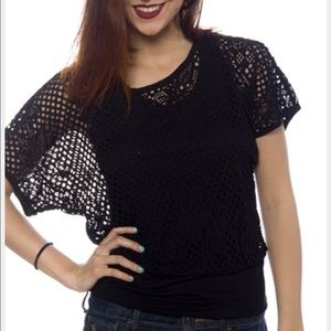 Ambiance Apparel Tops - Ambiance Apparel Black Fishnet Top 💘