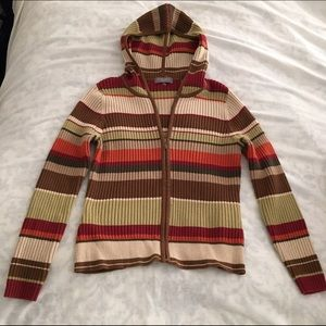 Kate Hill Sweaters - Fall Colors Striped Hooded Sweater Zip Up