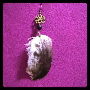 Owl feather earring