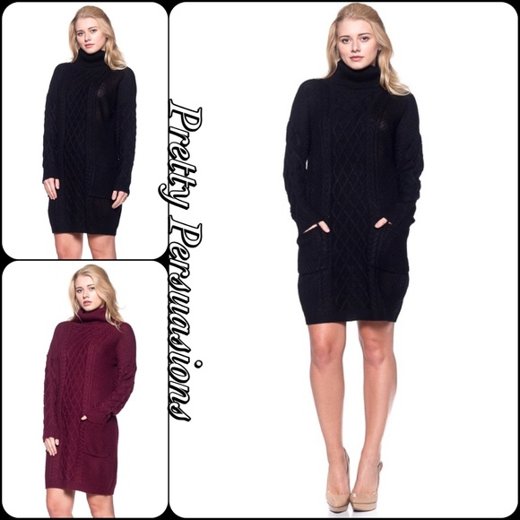 Pretty Persuasions Dresses & Skirts - LAST TWO‼️ Cable Knit Turtleneck Sweater Dress