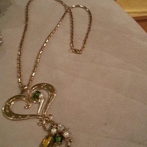 Antique gold tone heart necklace