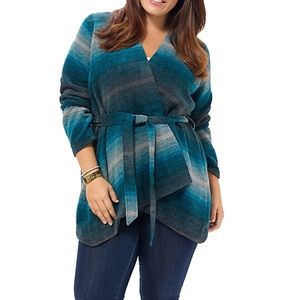 BB Dakota Jackets & Blazers - FINALSALE! Blue striped BB Dakota tie waist jacket