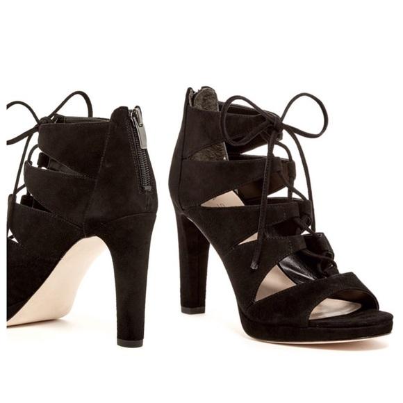 26c884df62b Via Spiga Rajah Lace Up Black Suede Heels