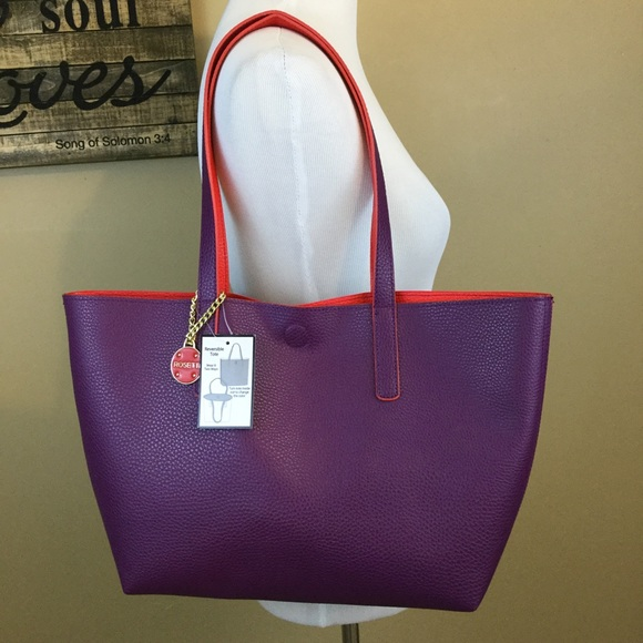 f850d43606 💕 11💕Purple and red reversible tote bag