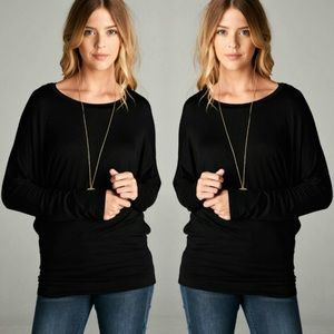 Long Dolmen sleeve round neck black tunic top