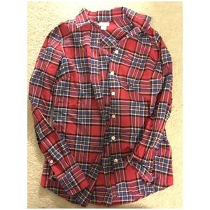 J. Crew Tops - J. Crew red multicolored plaid button up shirt