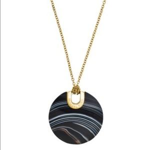 Michael Kors Jewelry - MK Black Agate Disc Pendant Necklace