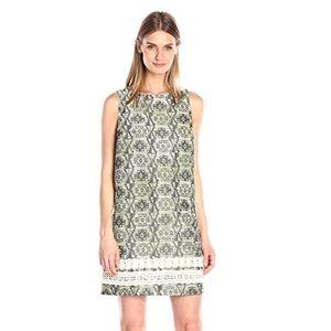 Kensie Dresses & Skirts - Kensie NWT Brocade Shift Dress M Olive creampewter