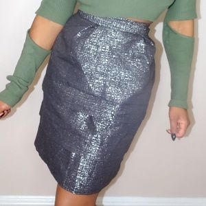 Skirts - Charcoal Gray & Silver Layered Skirt