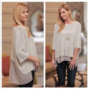 Gray chiffon layered back sweater top