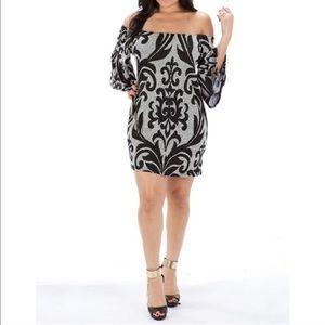 Off the Shoulder Brocade Dress