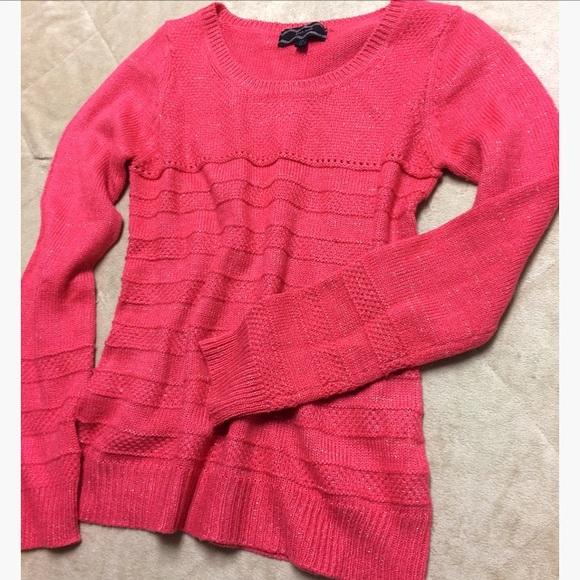 67% off Pink Rose Tops - Pink Rose Dark Pink Sweater Threaded w ...