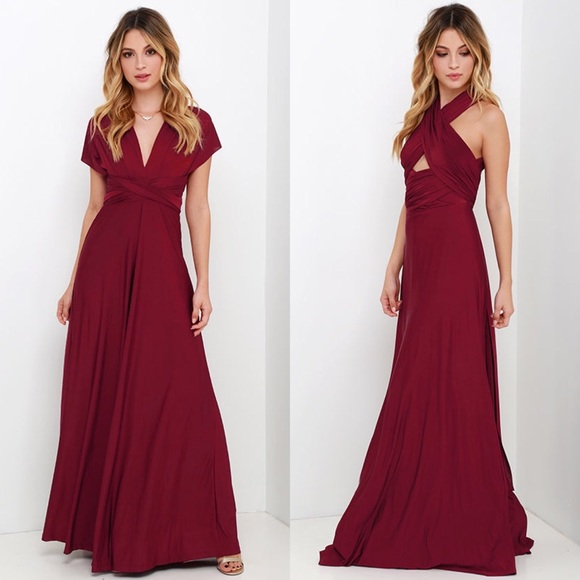 abd08cc204 Lulu s Dresses   Skirts - ALWAYS STUNNING CONVERTIBLE BURGUNDY MAXI DRESS