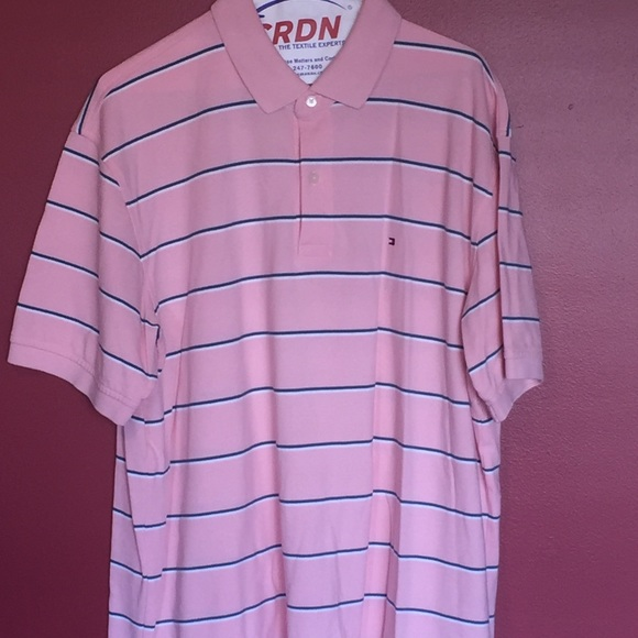 6a1ac06028 Tommy Hilfiger Shirts | Pink Blue And White Striped Polo | Poshmark