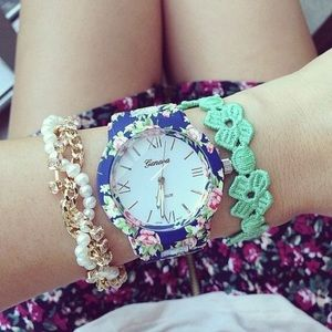 Floral Ceramic Large Face Arm Candy Watch Geneva