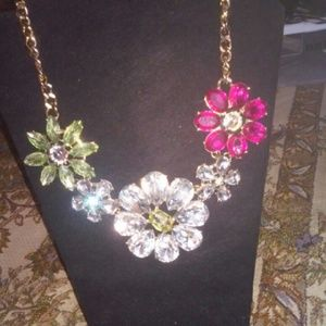 Floral Crystal Statement Necklace