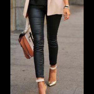 High rise Zara skinny leather jeans