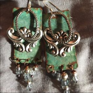 Jewelry - Handmade Turquoise Patina and Silver Earrings