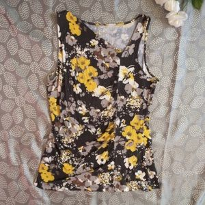 Gray and Yellow Floral Merona Top