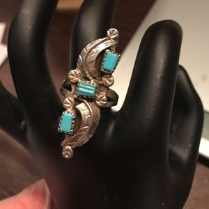 Zuni SS turquoise signed ring
