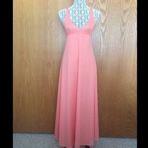 Coral Cross Back Maxi Dress - VTG 70s - S/M