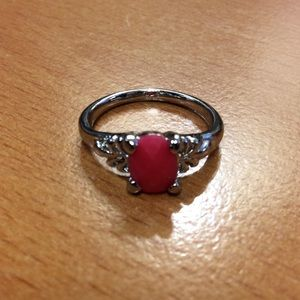 New Holiday Red and Silver Ring - Size 6