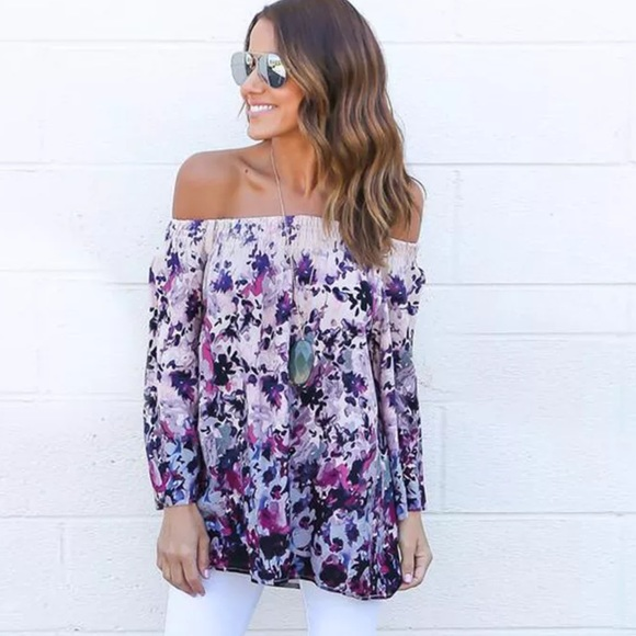 f3173a5c89f Haute Ellie Tops | Floral Print Off Shoulder Baby Bell Sleeve Top ...