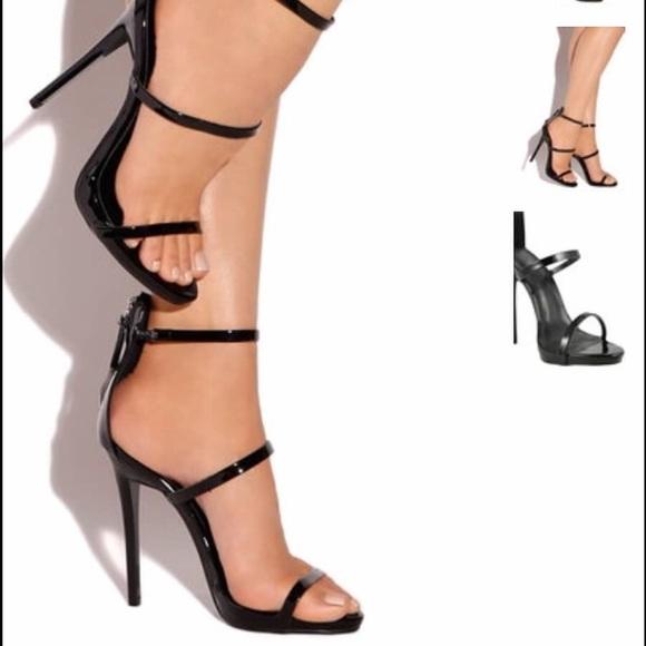 Black Strapless High Heels